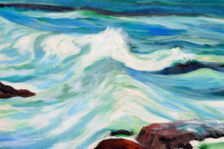 Incoming Tide Seascape - Blue Landscape Painting by Hartzell Harrison Ray