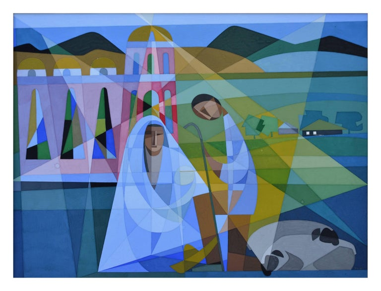 Mid Century Modernist Nativity  - Painting by Unknown
