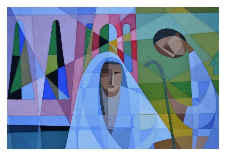 Substantial mid century modern rendering of a nativity scene with California mission in the background by an unknown artist. Shepard tending his sheep and Mary and child in foreground. Signed