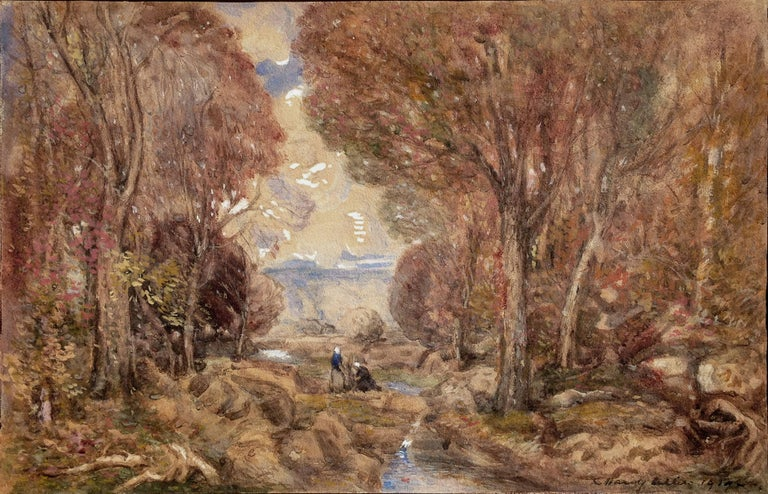 Fontainebleau Forest and Women Gathering - Art by C. Harry Allis