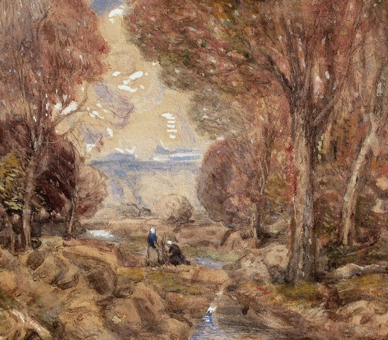 Fontainebleau Forest and Women Gathering - American Impressionist Art by C. Harry Allis