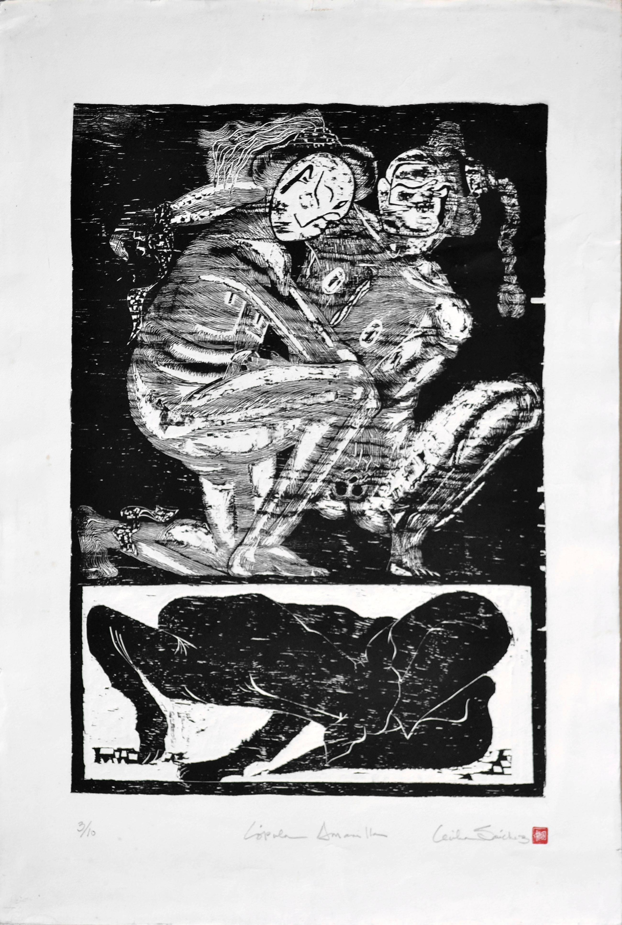 """Copula Amarilla"" - Figurative Abstract Woodcut"