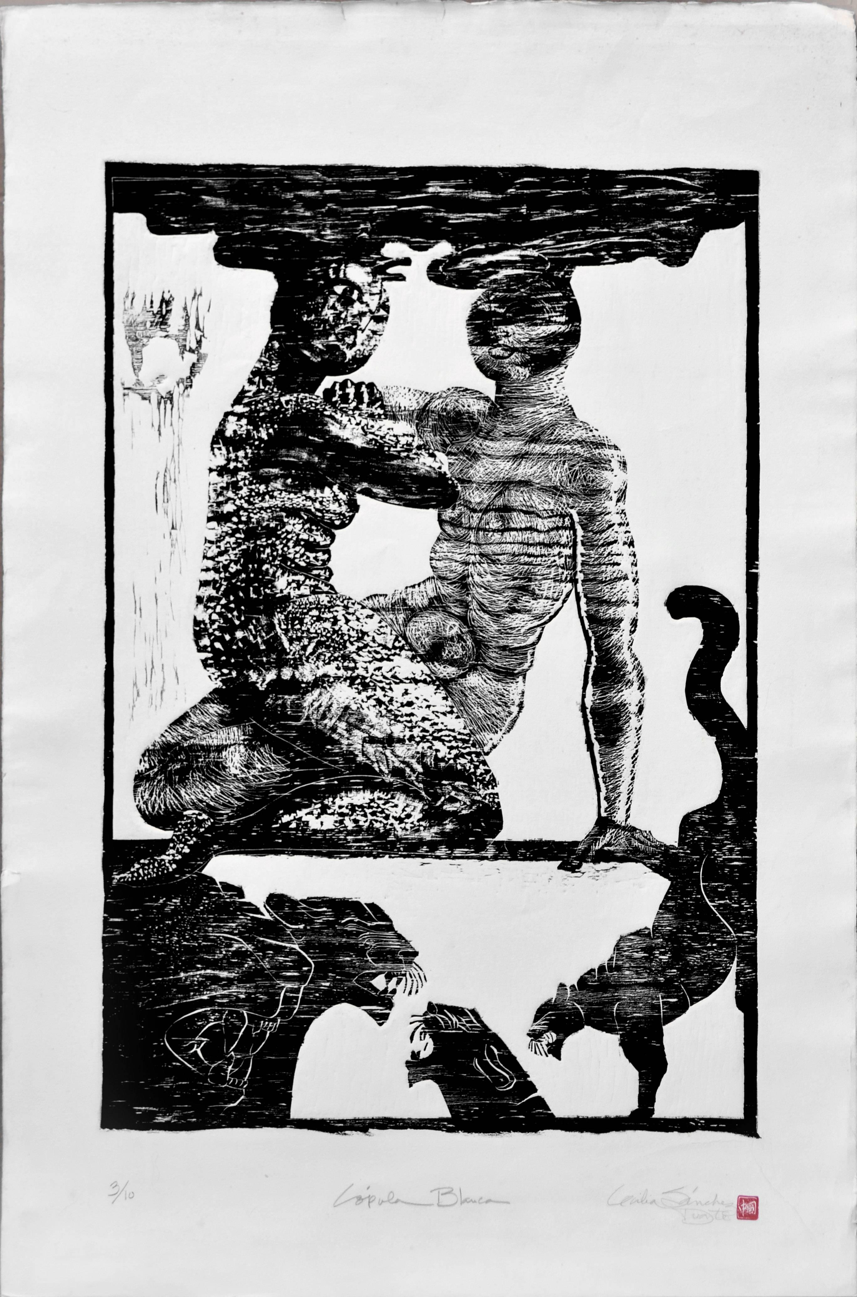 Panther - Figurative Abstract Woodcut