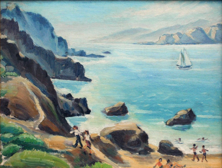 Mid Century Beach Day San Francisco Bay - Figurative Landscape  - Painting by Unknown