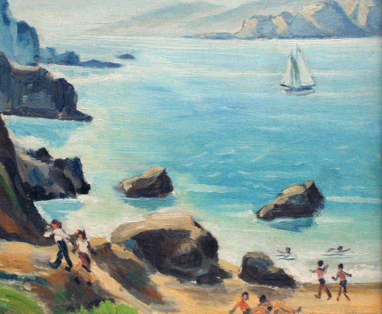 Mid Century Beach Day San Francisco Bay - Figurative Landscape  - American Impressionist Painting by Unknown