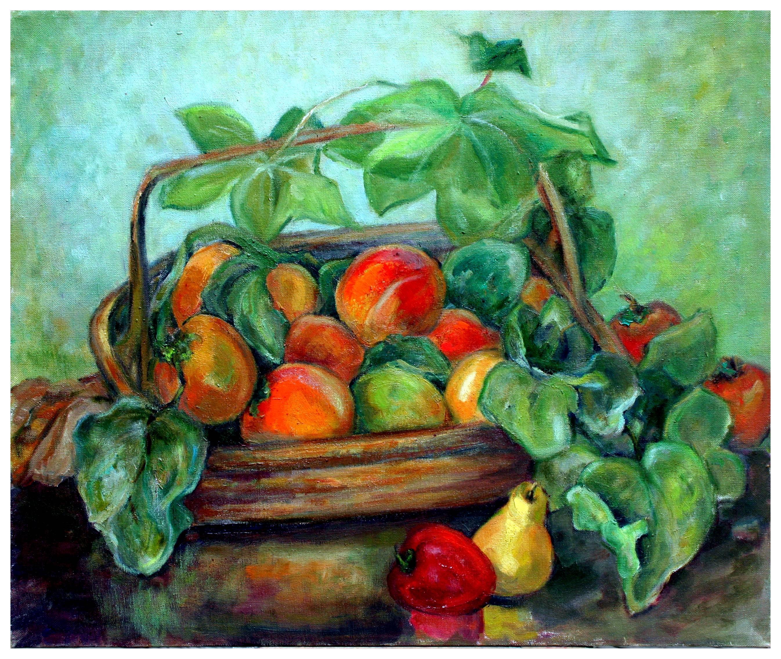 Mid Century Harvest Basket Still Life