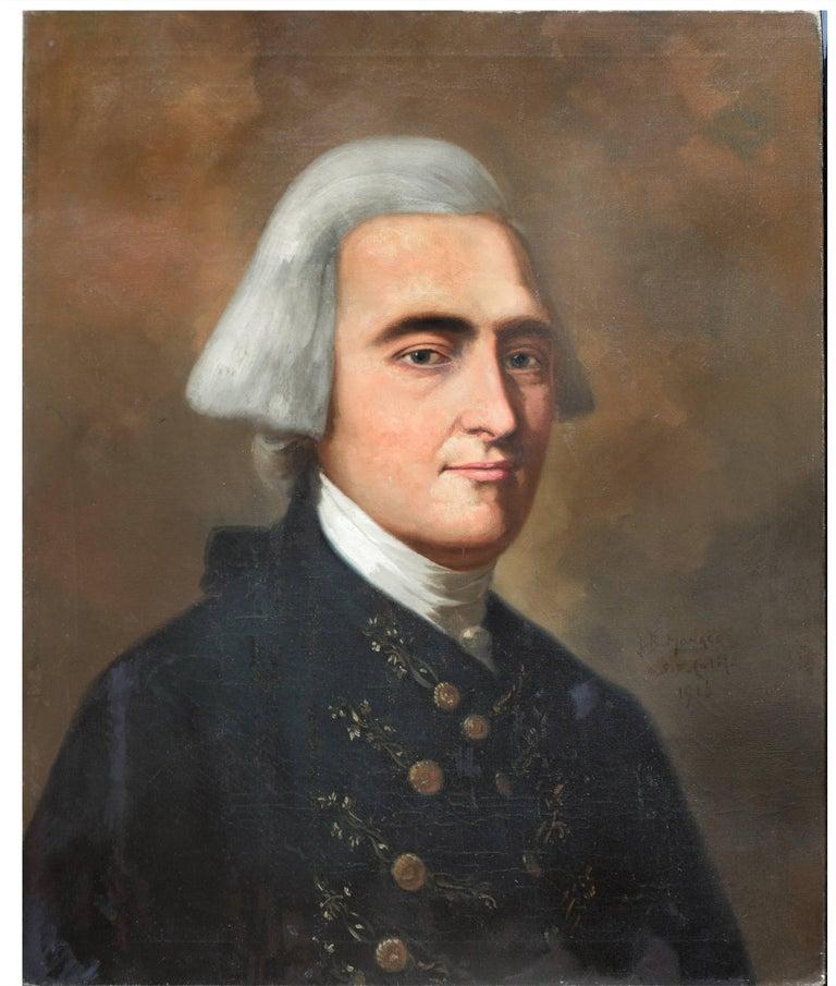 Study of John Singleton Copley's painting of John Hancock  - American Impressionist Painting by John B. Monaco