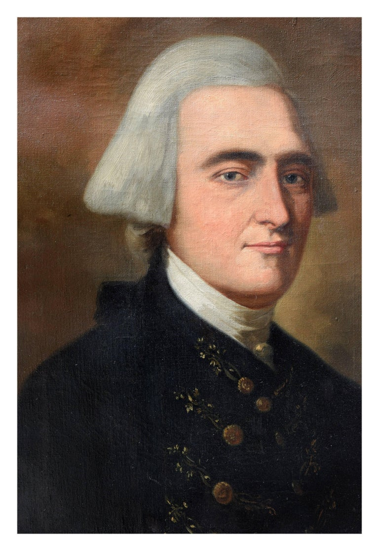 Study of John Singleton Copley's painting of John Hancock  - Black Portrait Painting by John B. Monaco