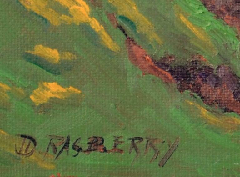 Coastal Bluffs by Jesse Don Rasberry - Blue Landscape Painting by Jesse Don Rasberry