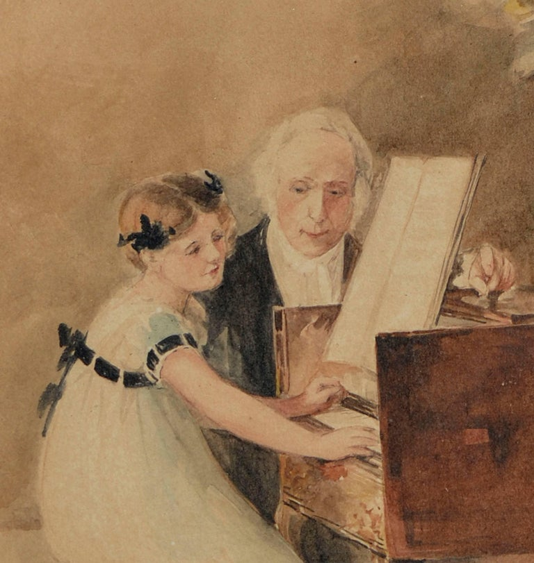 The First Piano Lesson - Brown Figurative Art by Edward Volkman