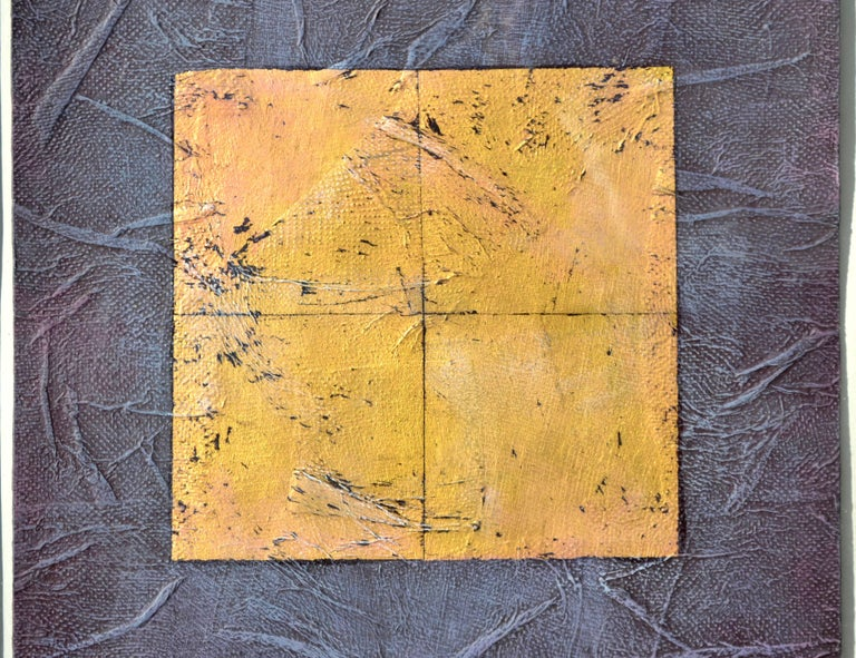 Purple and Gold Abstract - Abstract Geometric Painting by Peg Denney