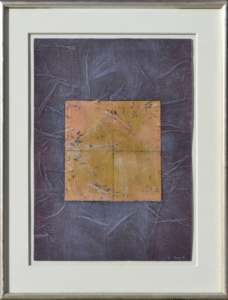 Peg Denney Abstract Painting - Purple and Gold Abstract