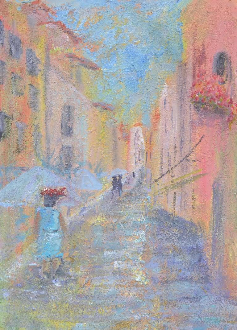 Sandra LaBoue-Erba Landscape Painting - French Street Scene Landscape