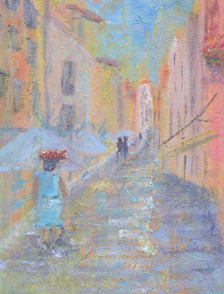 French Street Scene Landscape - Painting by Sandra LaBoue-Erba