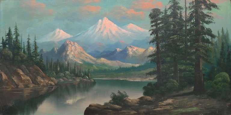 Snow Capped Mountains and Lake - Mt. Hood Oregon Landscape  - Painting by John Coultrup