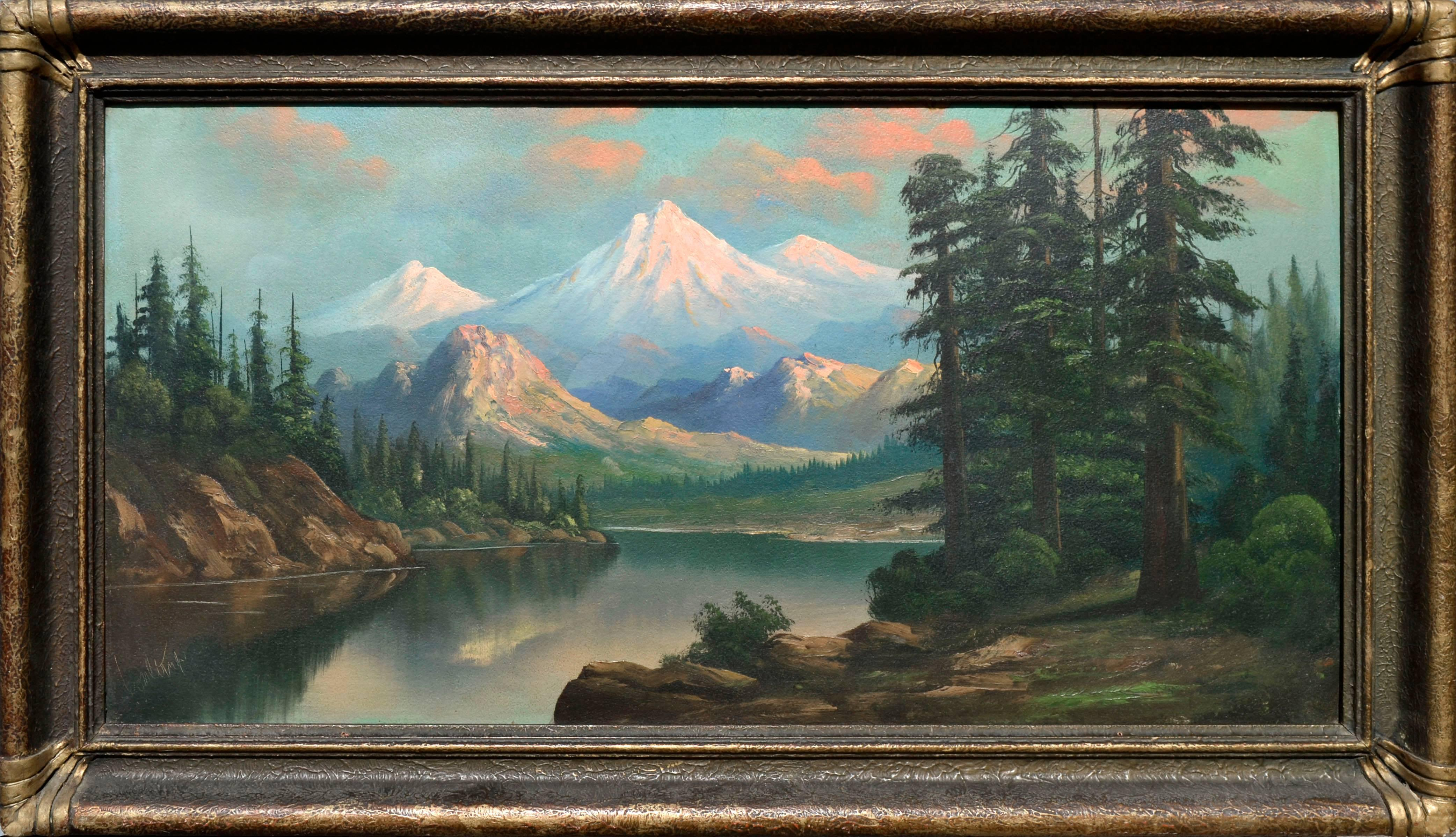 Snow Capped Mountains and Lake - Mt. Hood Oregon Landscape