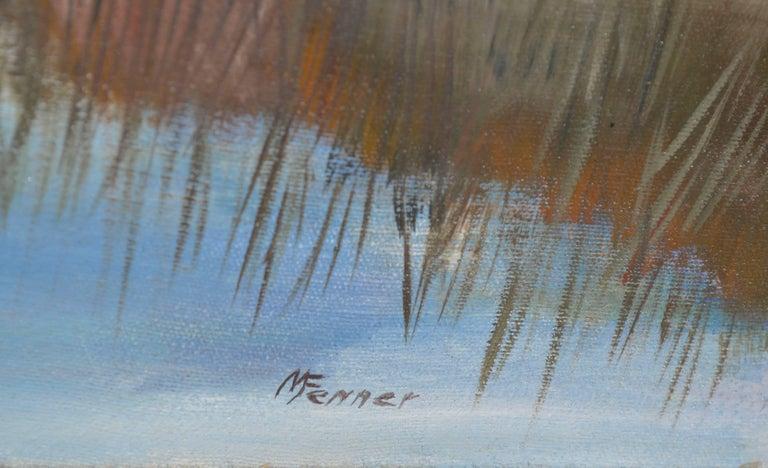Coastal Slough - Gray Landscape Painting by  Mildred Vejtasa Fenner
