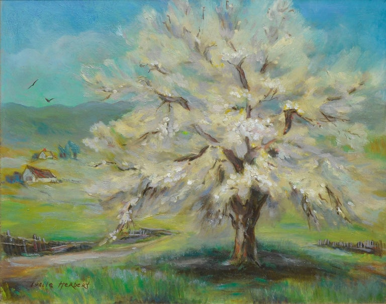 Apricot Tree, Spring Blossoms - Painting by Lucile Herbert