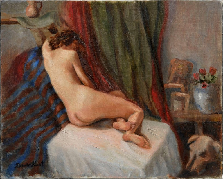 David Hunt Nude Painting - Reclining Nude Figure