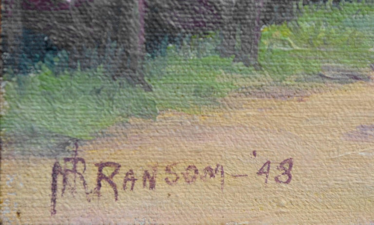 Cherry Blossoms - Gray Landscape Painting by Nannie Ruth Ransom