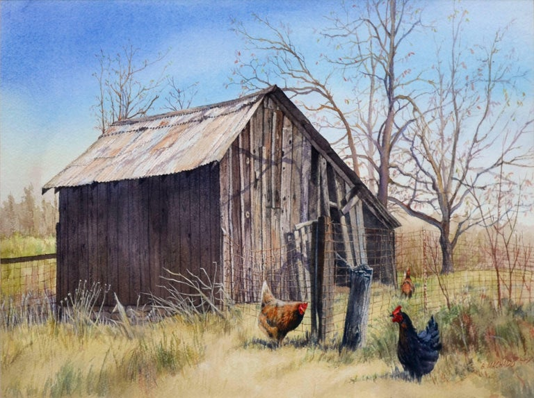 Bart Machado Chickens Near The Old Barn Painting For