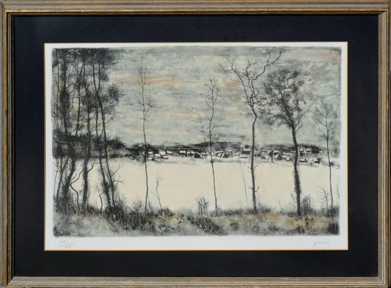 """Quiet winter scene on a frozen lake by listed artist Bernard Gantner (France, b. 1928). Presented in a rustic wood frame. Signed and numbered in pencil: edition number """"149/275"""" lower left margin; """"Gantner"""" lower right margin. Image, 15.25""""H x"""