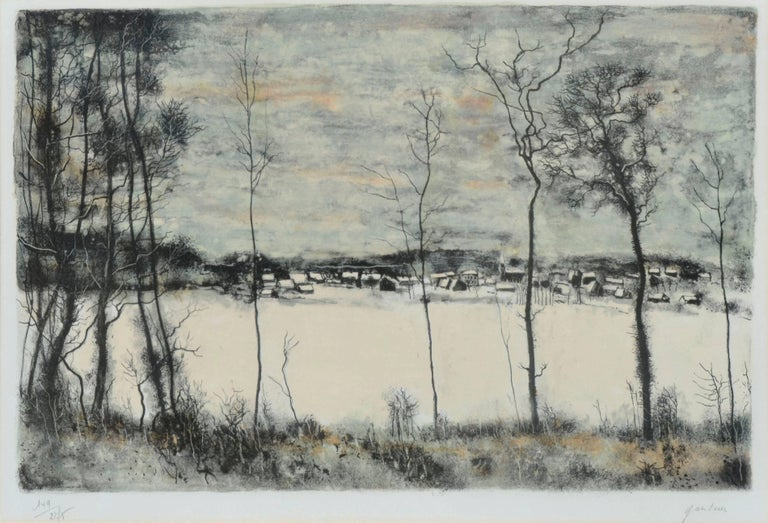 Bord de la forêt et maisons sous la neige by Bernard Gantner For Sale 1