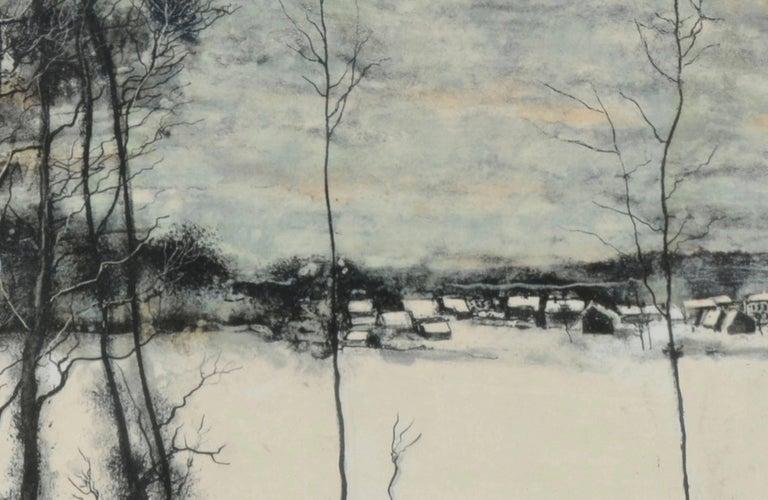 Bord de la forêt et maisons sous la neige by Bernard Gantner For Sale 2
