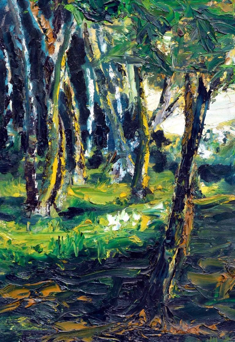 Mid Century Forest Sun Landscape  - Painting by Elmer Albritton