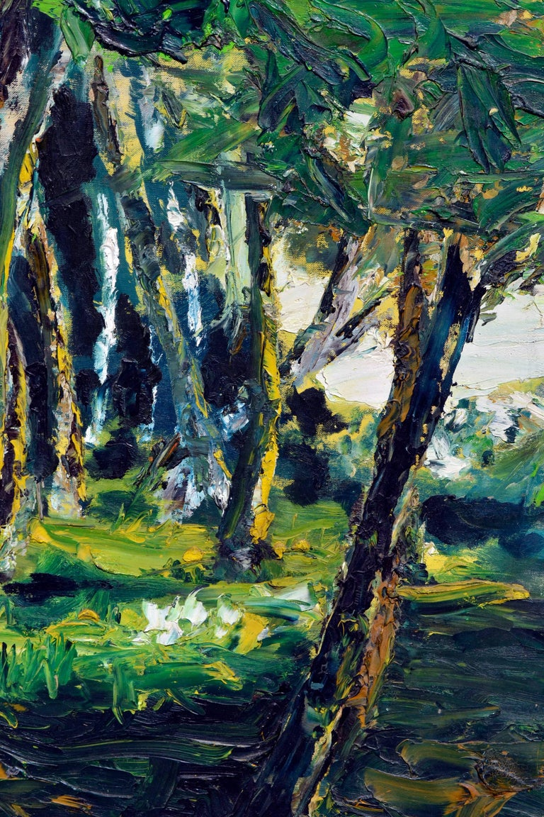Mid Century Forest Sun Landscape  - American Impressionist Painting by Elmer Albritton