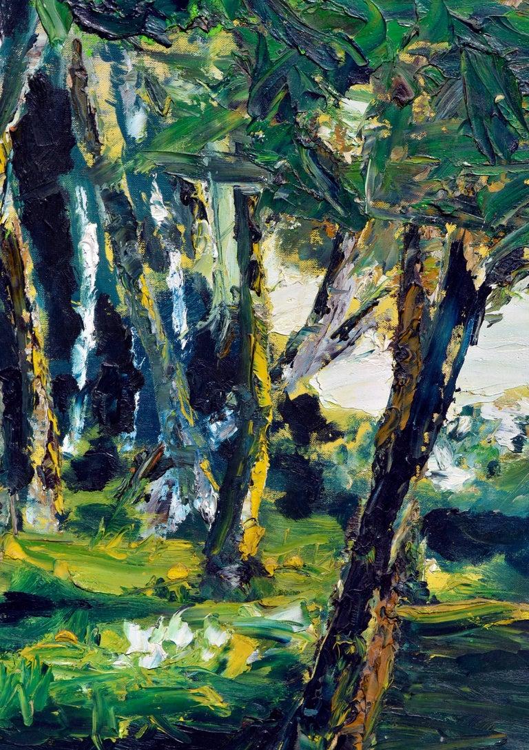 Mid Century Forest Sun Landscape  - Black Landscape Painting by Elmer Albritton