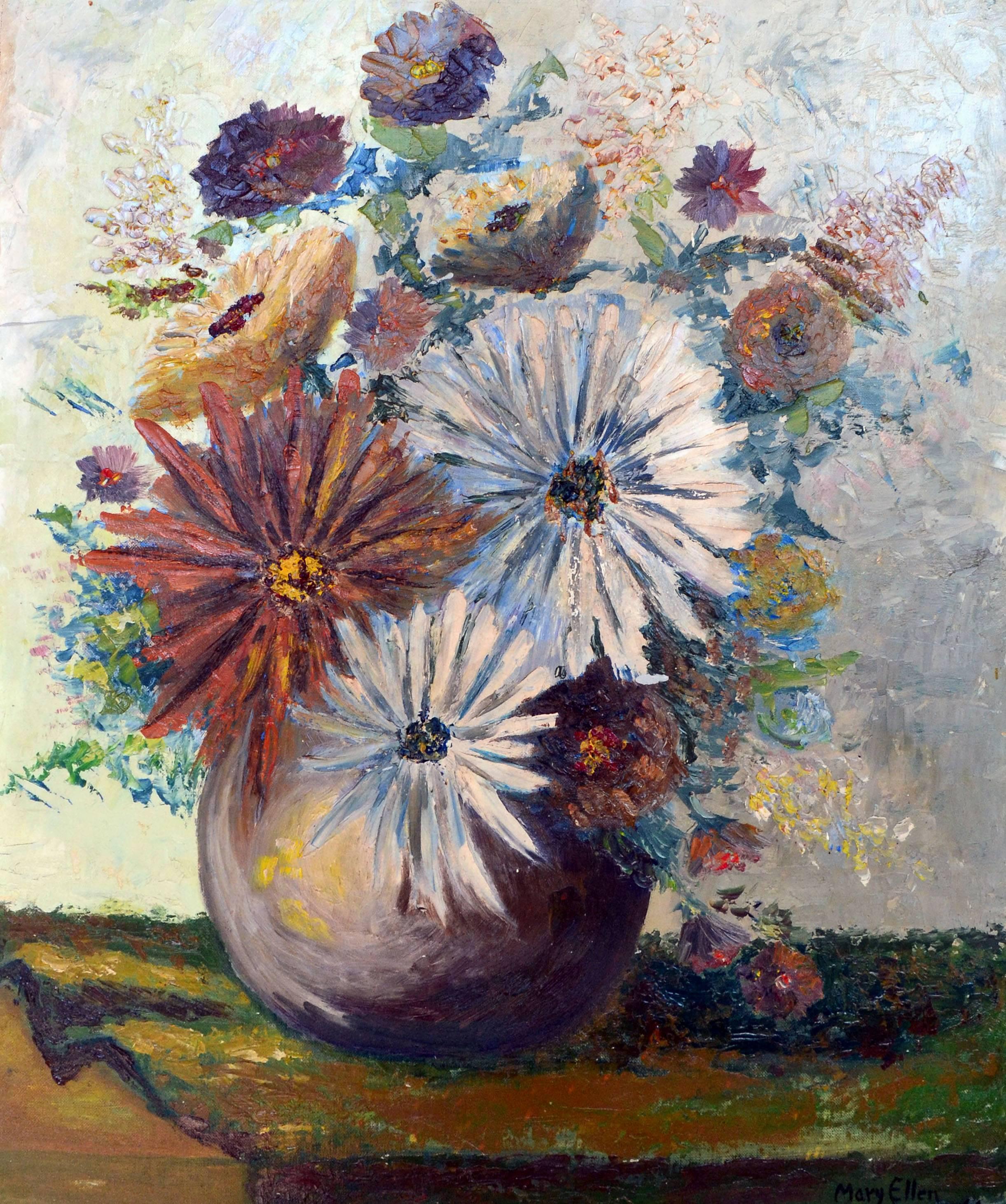 Mid Century Chrysanthemum Bouquet Still Life