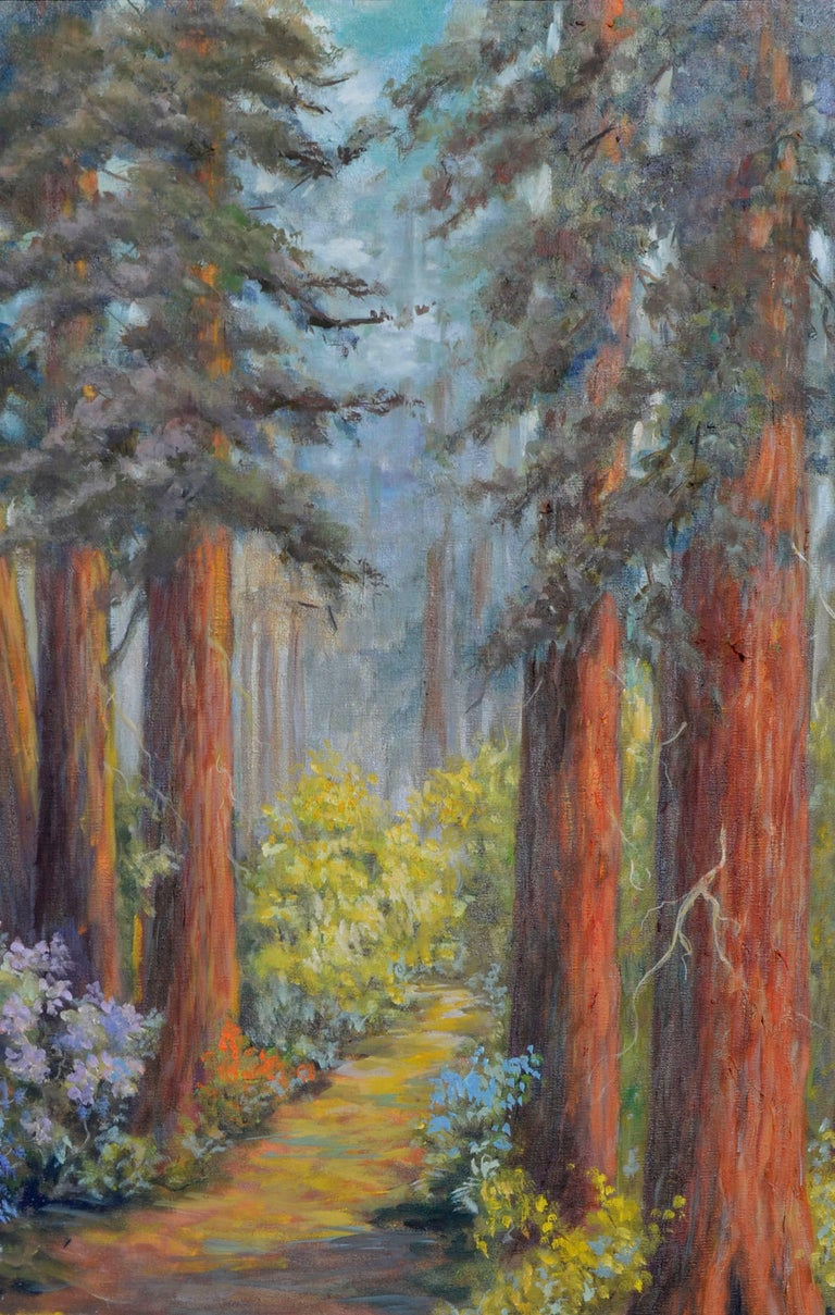 Henry Cowell Redwoods  - American Impressionist Painting by  Mildred Vejtasa Fenner