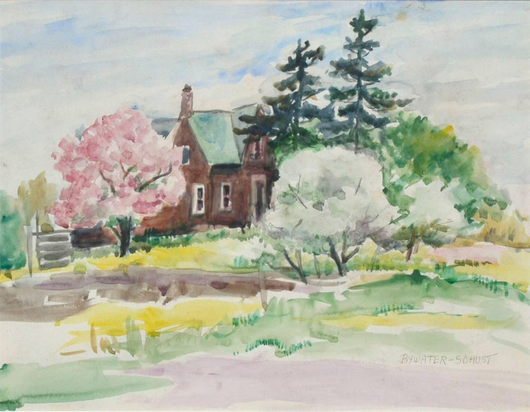 Rural, Victorian Brick House in Spring - Painting by Dorothy Violet Bywater-Schust