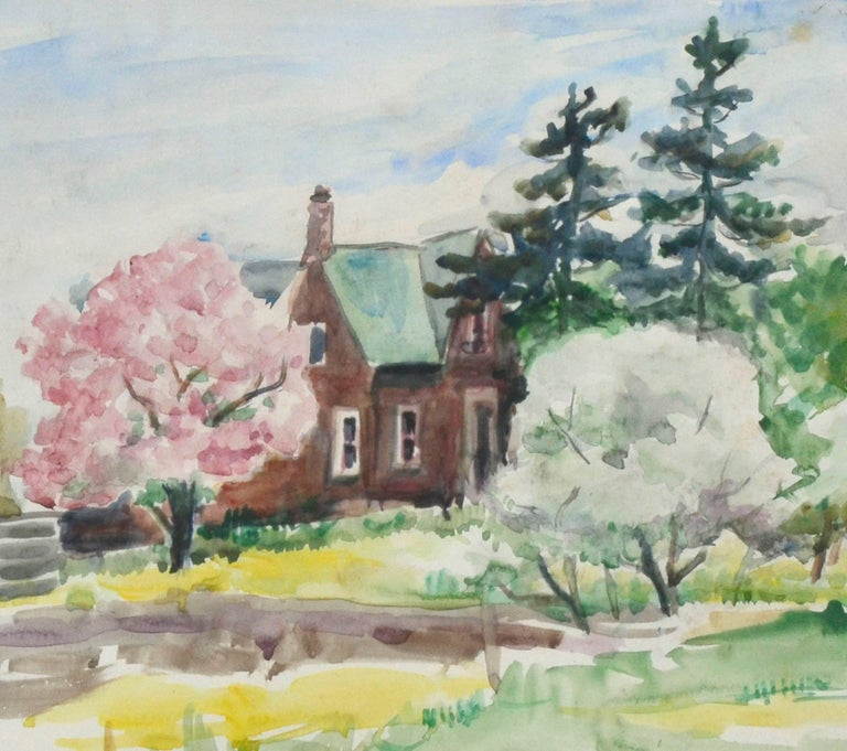 Rural, Victorian Brick House in Spring - Impressionist Painting by Dorothy Violet Bywater-Schust