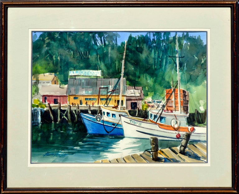 Henry Hank Volle Landscape Painting - Boats Along the Wharf