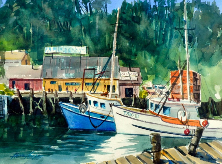 Boats Along the Wharf - Painting by Henry Hank Volle
