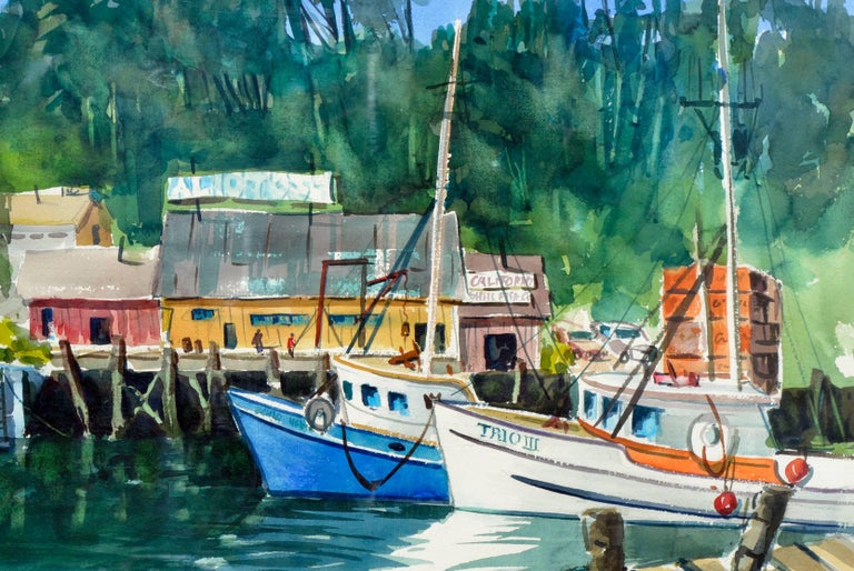 Boats Along the Wharf - American Impressionist Painting by Henry Hank Volle