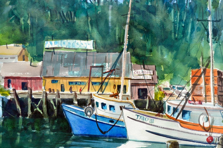 Boats Along the Wharf - Beige Landscape Painting by Henry Hank Volle