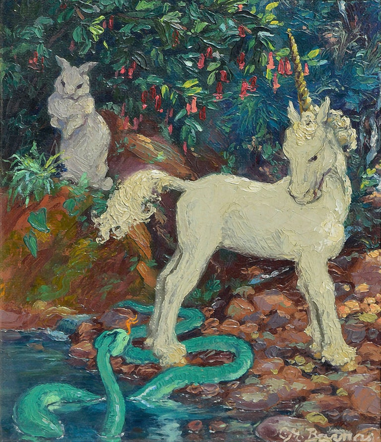 Unicorn, Serpent and Rabbit - Painting by Mary Pomeroy