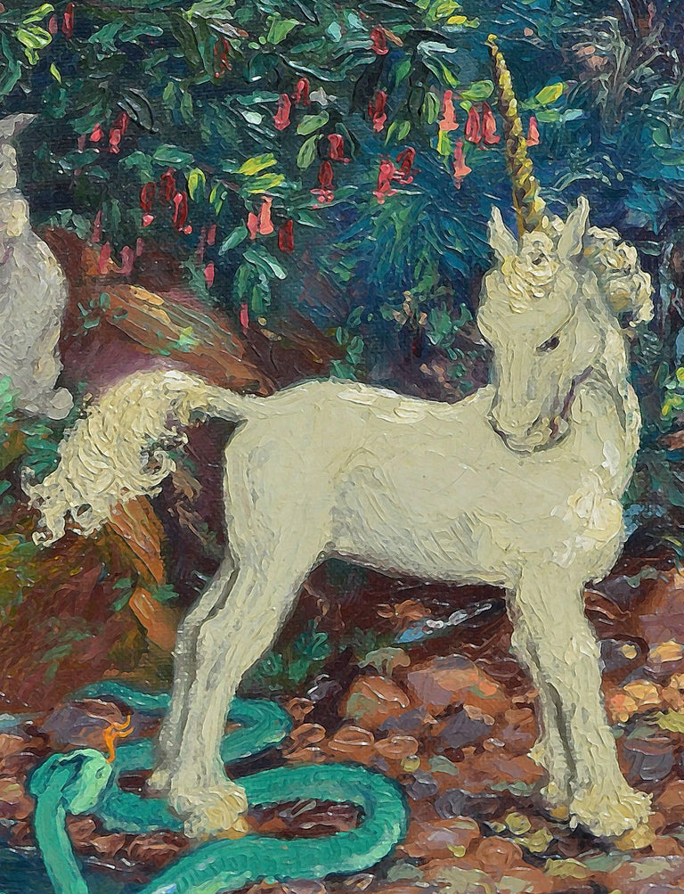 Unicorn, Serpent and Rabbit - American Impressionist Painting by Mary Pomeroy