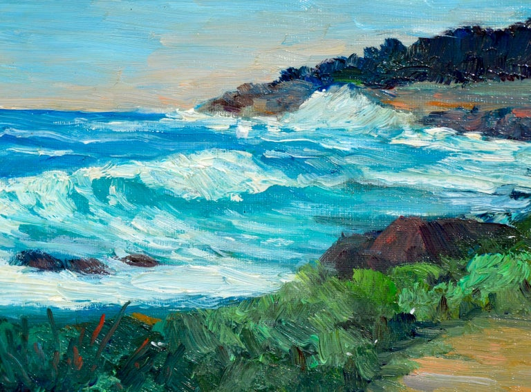 Point Lobos Coast - American Impressionist Painting by Shigeko Miles