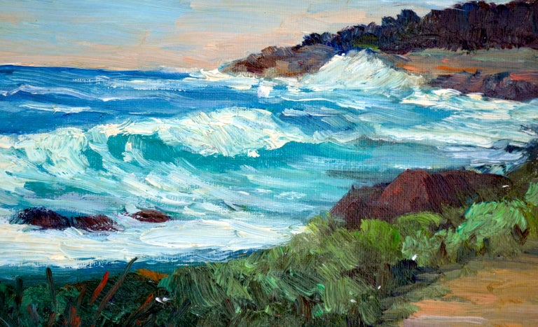 Point Lobos Coast - Brown Landscape Painting by Shigeko Miles