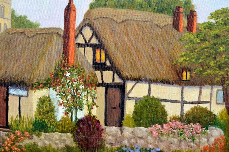 Countryside Cottage - Brown Landscape Painting by Doreen Amaral