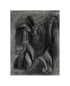Black & Gray Abstract Expressionist Drawing