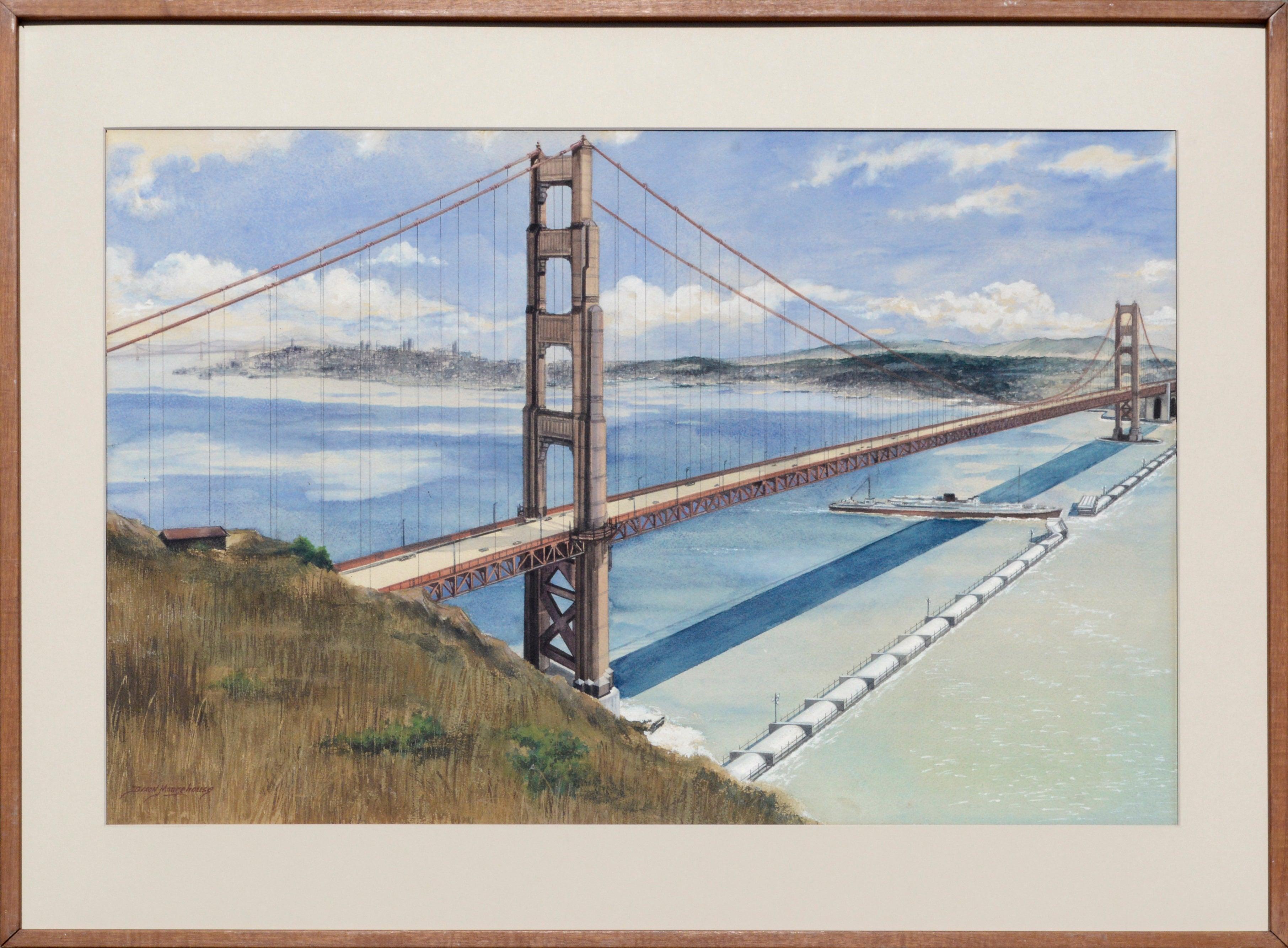 Golden Gate Bridge Landscape 1962 Futuristic Concept Tidal Generator