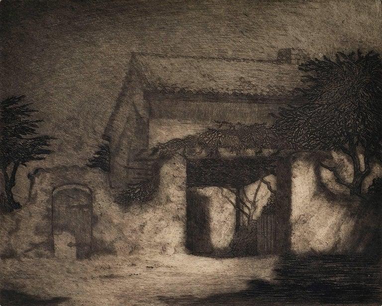 Sherman Rose House, Monterey California - American Realist Print by Ferdinand Burgdorff