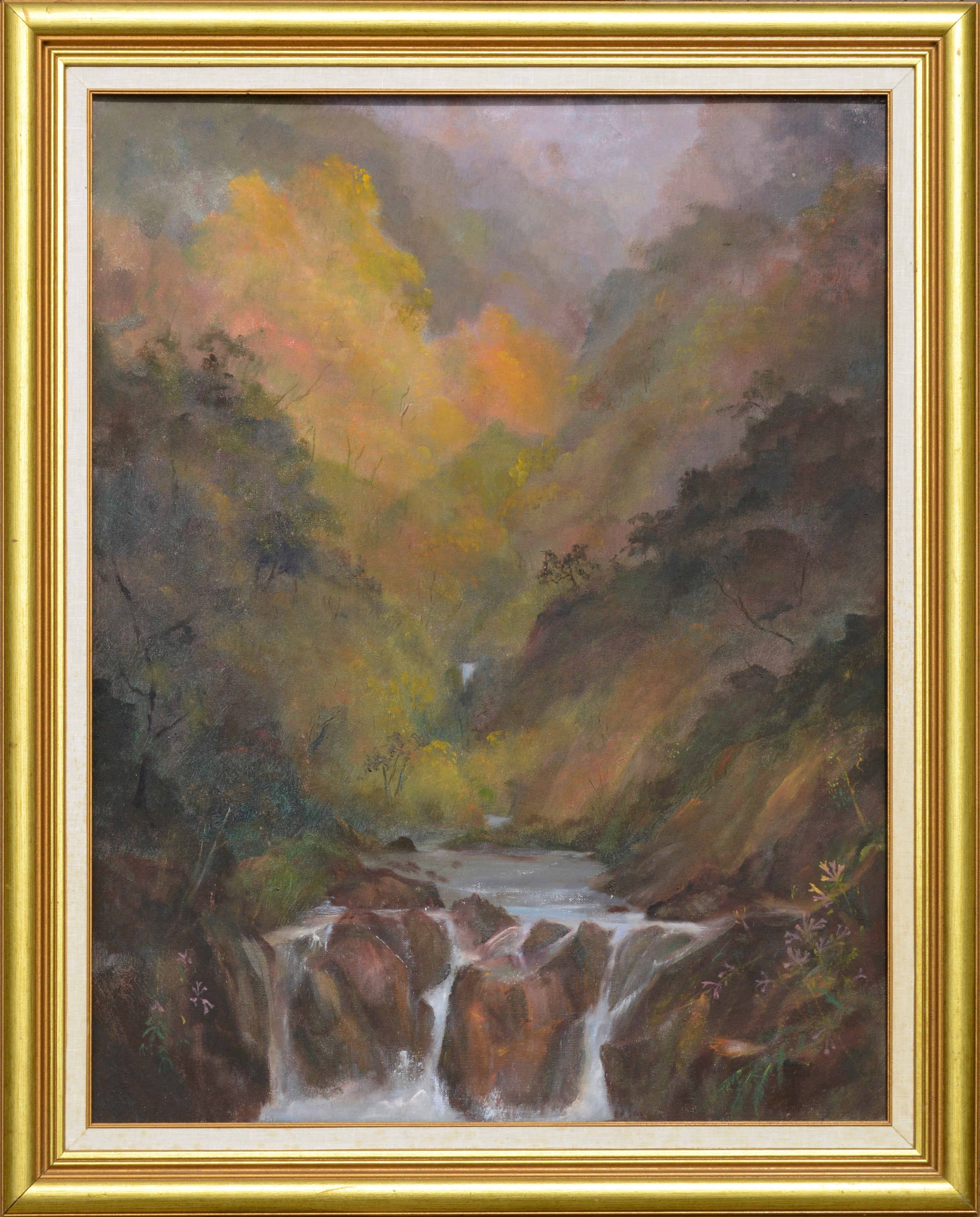 Waterfall in a Misty Valley - Landscape
