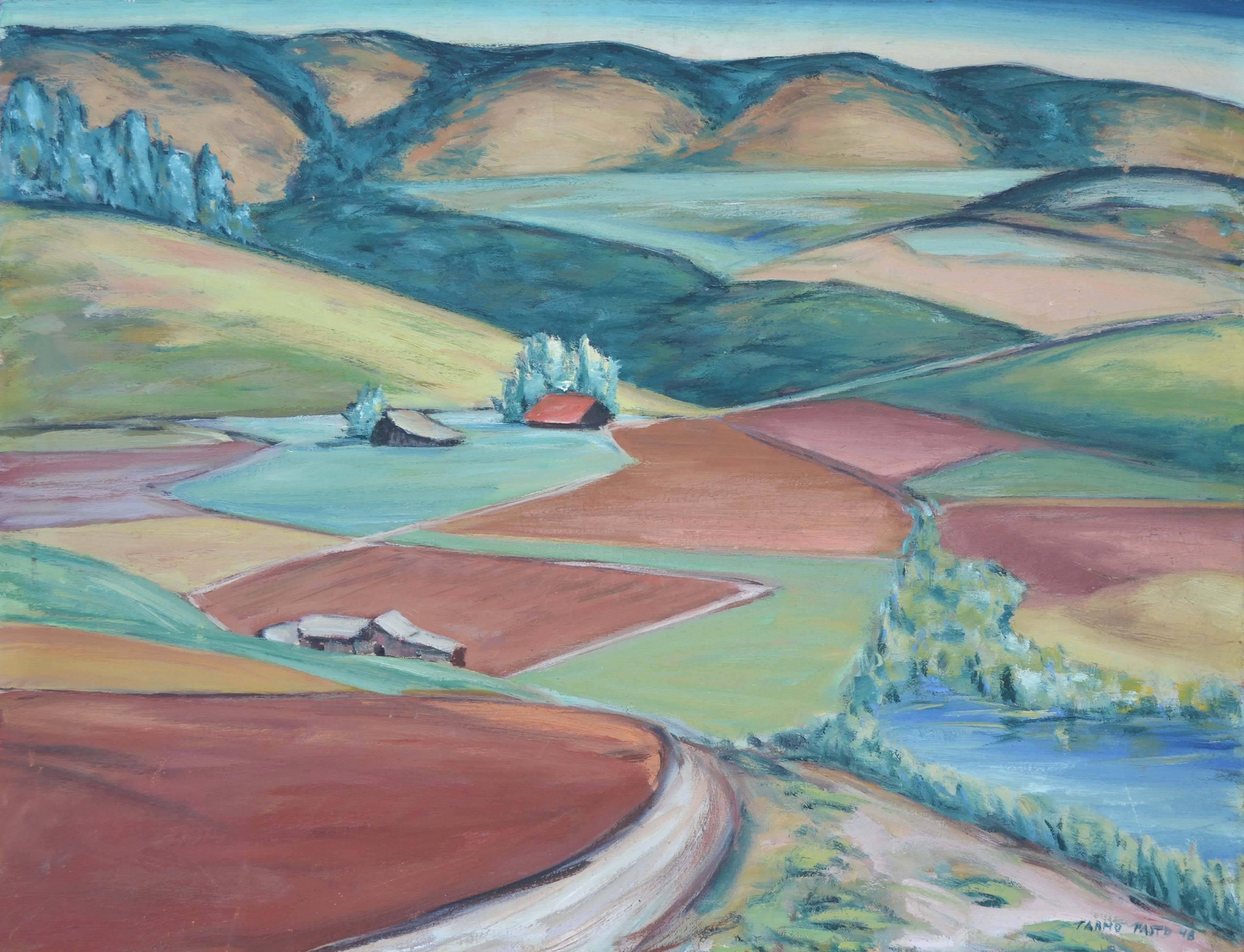 Mid Century --Fields and Foothills Landscape