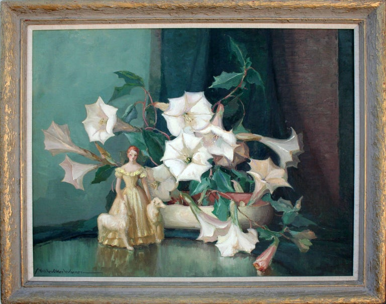 Nell Walker Warner Still-Life Painting - Art Deco Figurine with Dogs Amid Lilies Still Life